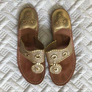 Jack Rogers Gold Glitter Cleo Sandals